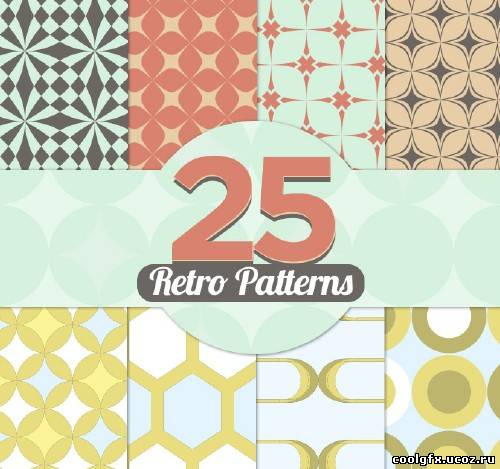 25 retro patterns vector
